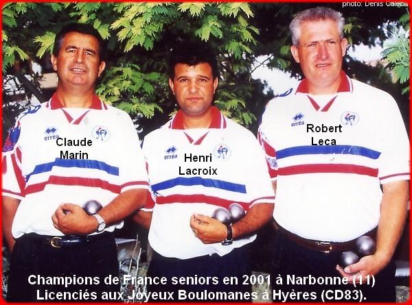 champions de France triplettes seniors pétanque 2001
