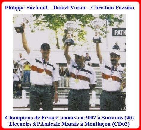 champions de France triplettes seniors pétanque 2002
