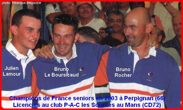 champions de France triplettes seniors pétanque 2003