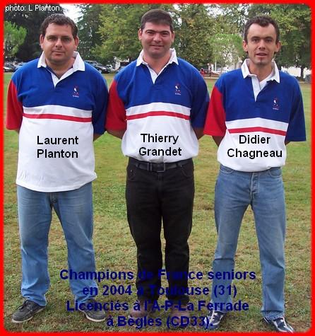 champions de France triplettes seniors pétanque 2004