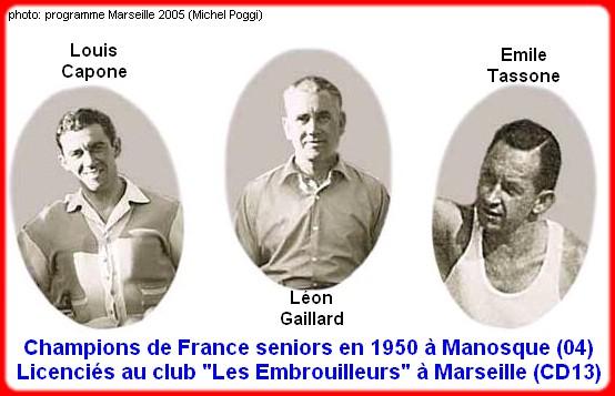 les champions de France pétanque seniors triplettes 1950