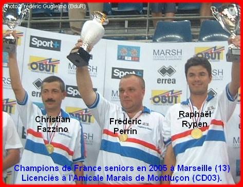 champions de France triplettes seniors pétanque 2005