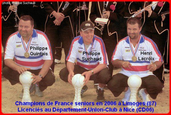 champions de France triplettes seniors pétanque 2006