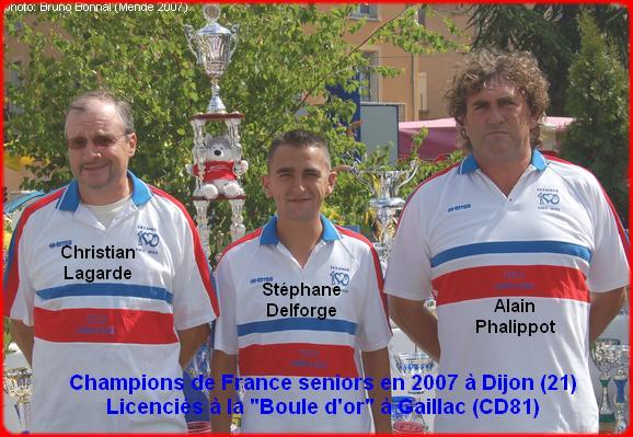 champions de France triplettes seniors pétanque 2007