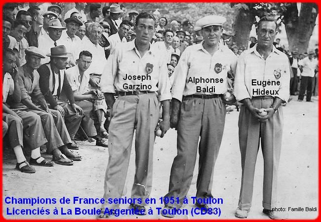les champions de France pétanque seniors triplettes 1951