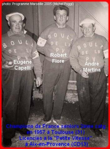 les champions de France pétanque seniors triplettes 2ème catg 1957