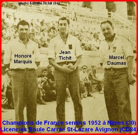 Les champions de France pétanque seniors triplettes 1952