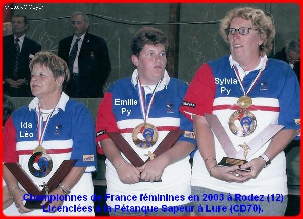 championnes de France triplettes féminines 2003