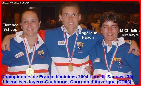 Championnes de France triplettes féminines 2004