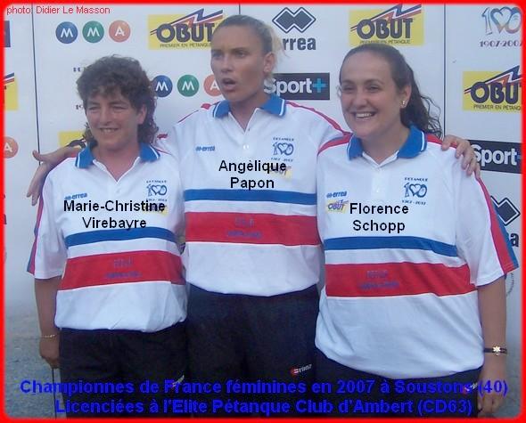 Championnes de France pétanque triplettes féminines en 2007