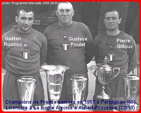 Les champions de France pétanque seniors triplettes 1953