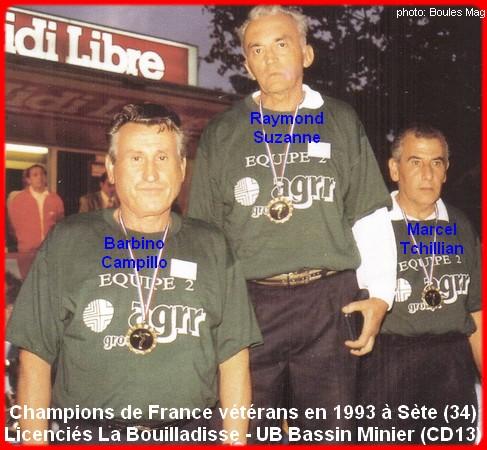 Champions de France triplettes vétérans en 1993