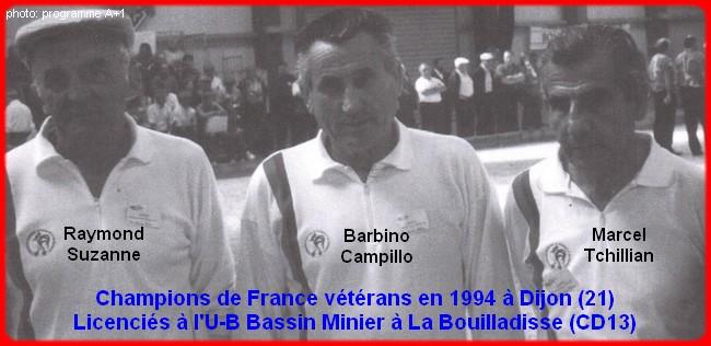 Champions de France triplettes vétérans en 1994