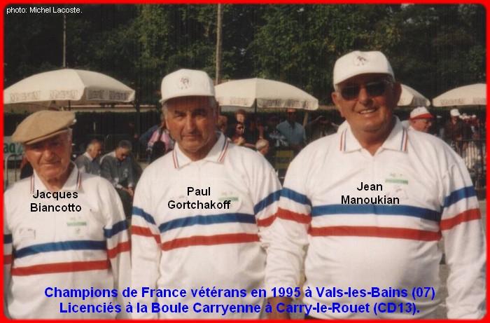 Champions de France triplettes vétérans en 1995