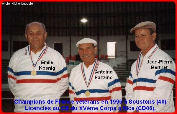 Champions de France triplettes vétérans en 1996