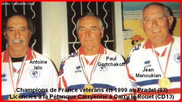 Champions de France triplettes vétérans en 1999