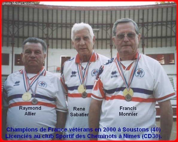 Champions de France triplettes vétérans en 2000