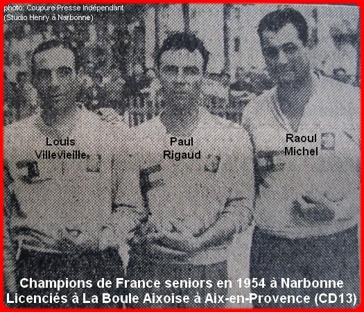 les champions de France pétanque seniors triplettes 1954