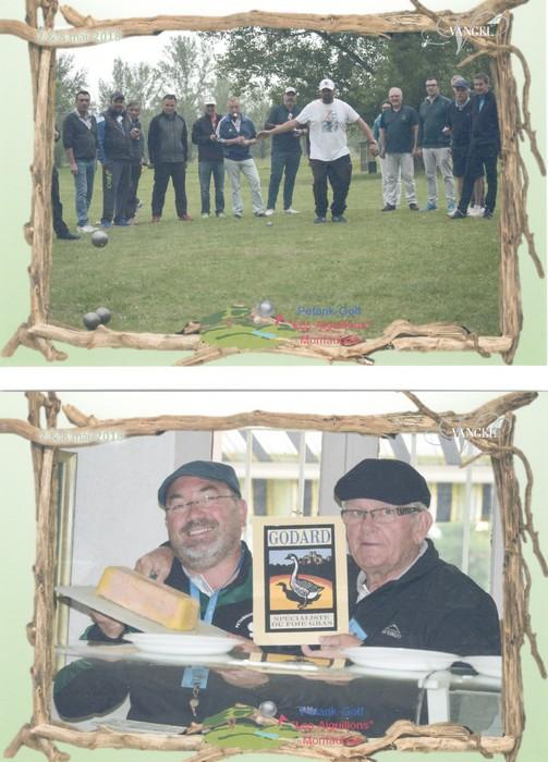Alain Godard foie gras et simon cortes champion pétank-golf 2018