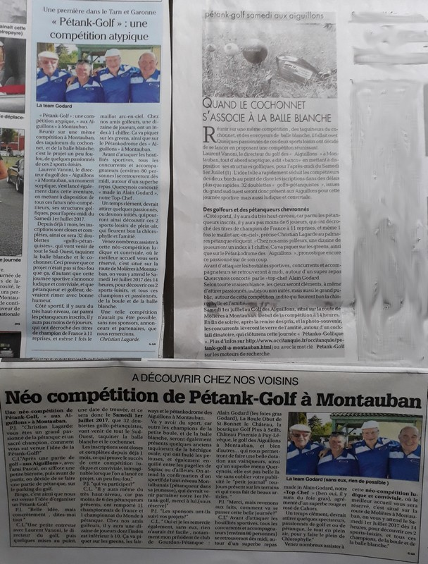 Articles presse petank golf