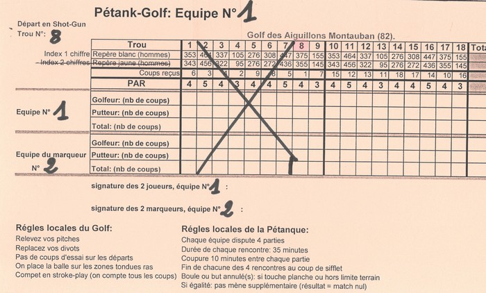 Carte score pétank-golf 2018