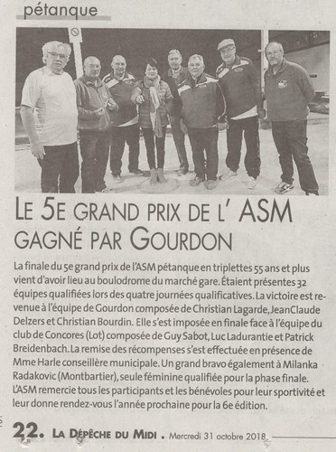 Depeche asm montauban team godard 2018