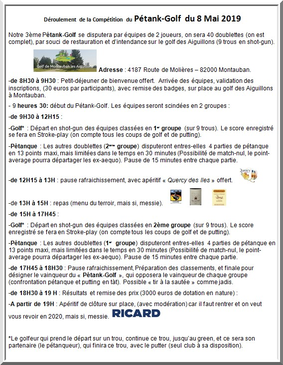 Deroulement competition pétank-golf 2019
