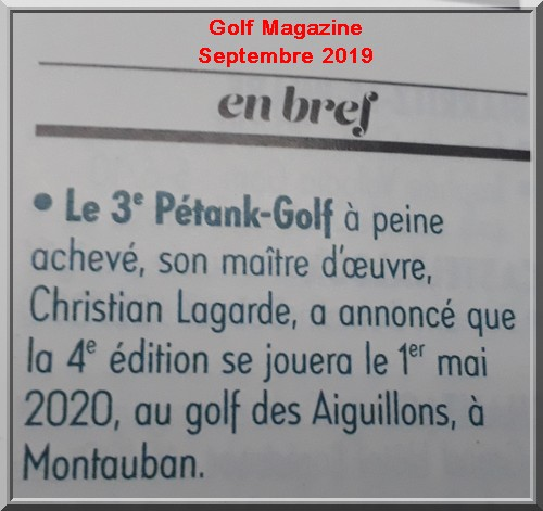 Golf magazine 2019, pétank-golf 2020