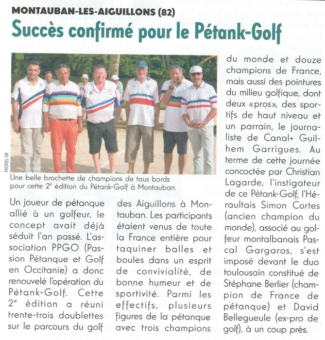 Golf magazine article pétank-golf pour occitanquie