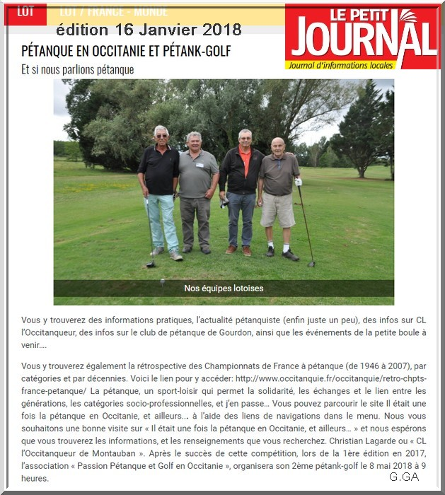 Petit journal Lot Pétank-Golf 2018