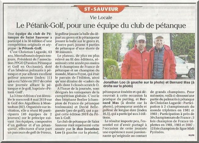 Petit journal Toulouse pétank-golf 2019