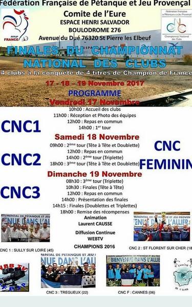 Programme pétanque CNC1 Elbeuf 2017