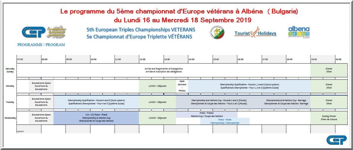 Programme chpt europe vétérans pétanque Albéna