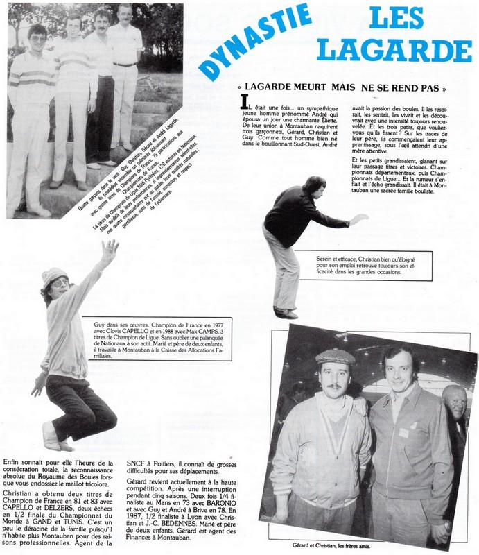 Coupure de presse pétanque Lagarde années 80