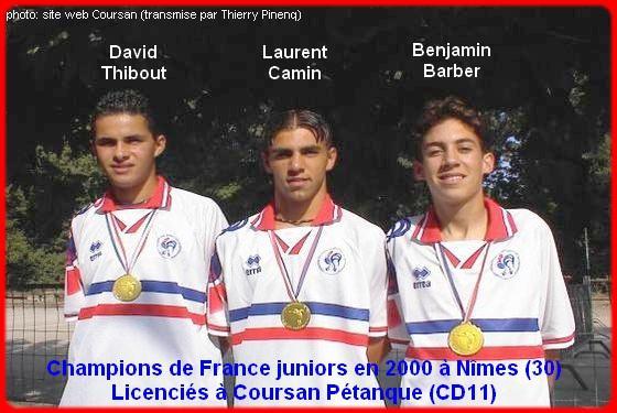 Champions de France pétanque triplettes juniors en 2000 à Nîmes