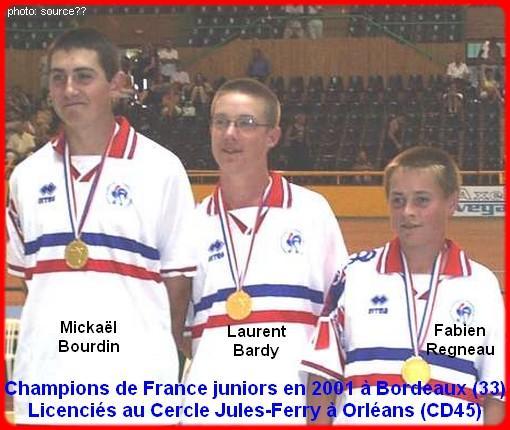 Champions de France pétanque triplettes juniors, en 2001 à Bordeaux