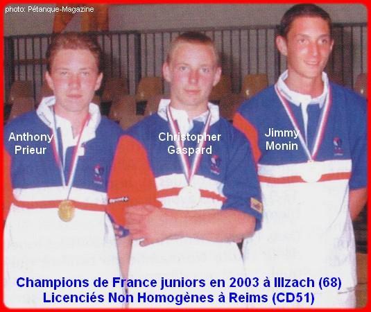 Champions de France pétanque triplettes juniors, en 2003 à Illzach