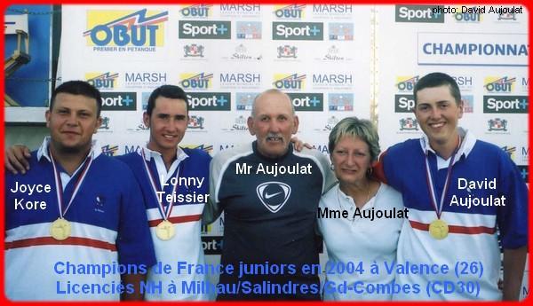 Champions de France pétanque triplettes juniors en 2004 à Valence