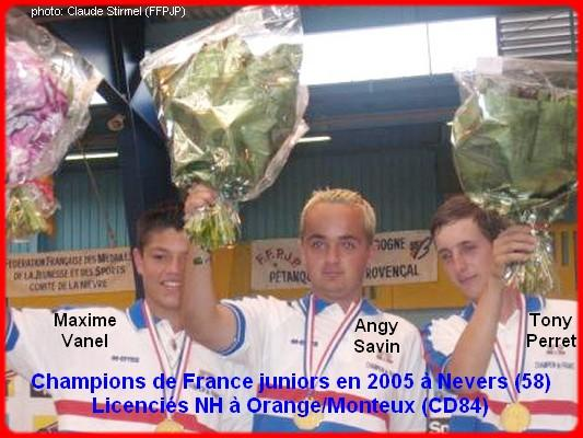 Champions de France pétanque triplettes juniors en 2005 à Nevers