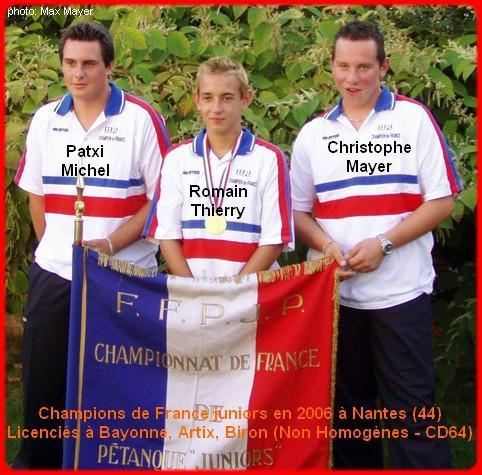 Champions de France pétanque triplettes juniors en 2006 à Nantes