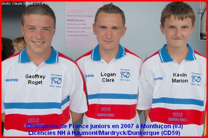 Champions de France pétanque triplettes juniors en 2007 à Montluçon