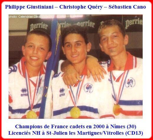 Champions de France pétanque triplettes cadets en 2000 à Nîmes