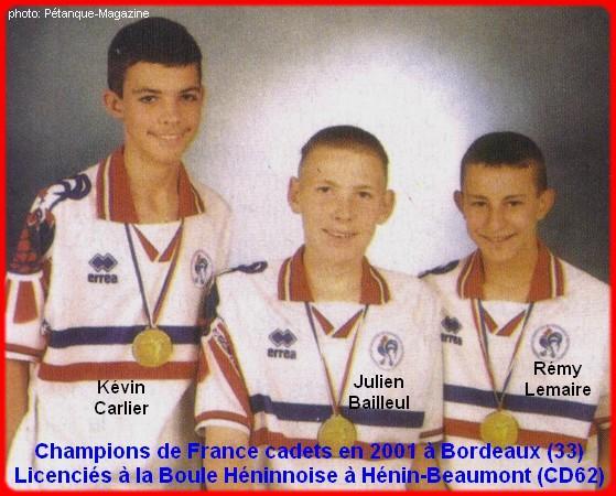 Champions de France pétanque triplettes cadets en 2001 à Bordeaux