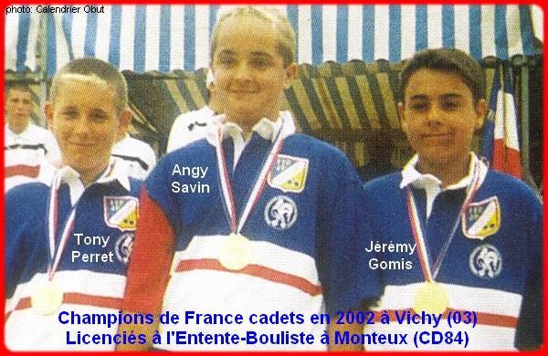 Champions de France pétanque cadets triplettes en 2002 à Vichy
