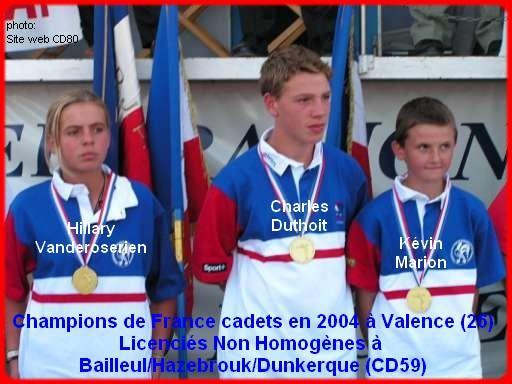 Champions de France pétanque triplettes cadets en 2004 à Valence