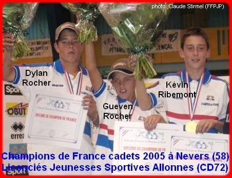 Champions de France pétanque triplettes cadets, en 2005 à Nevers
