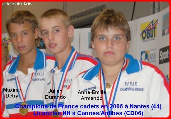 Champions de France pétanque triplettes cadets en 2006 à Nantes