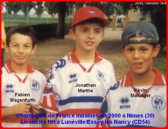 Champions de France pétanque triplettes minimes en 2000 à Nîmes