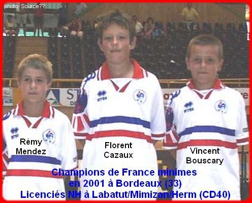 Champions de France pétanque triplettes minimes en 2001 à Bordeaux