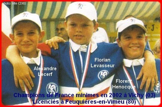 Champions de France pétanque triplettes minimes, en 2002 à Vichy